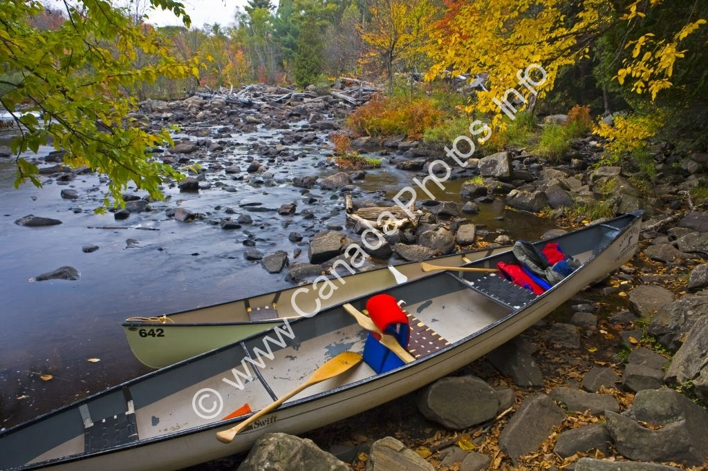 Photo Canoes Oxtongue River Ragged Falls Provincial Park Ontario