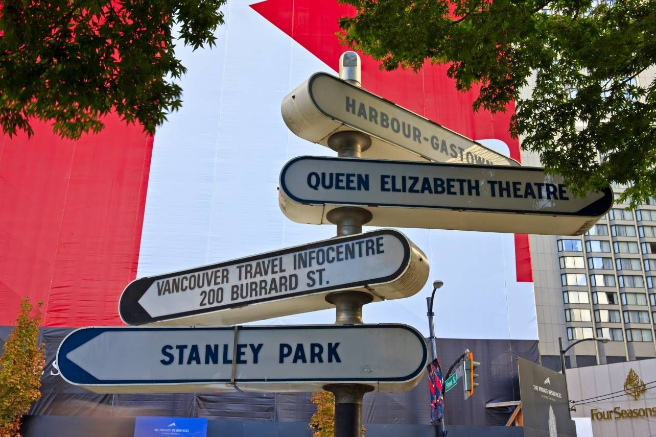 Photo Directional Signs Signpost Downtown Vancouver