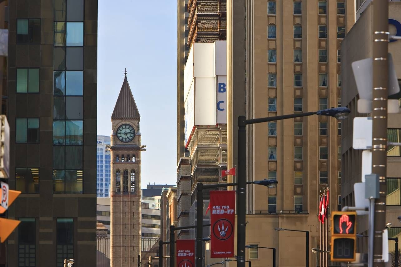 Photo Downtown Office Buildings Old Town Hall Clock Tower Toronto