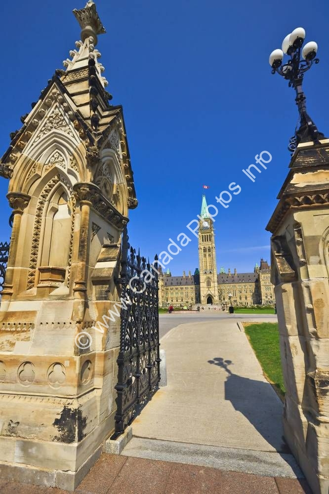 Photo Entrance Parliament Buildings Grounds Ottawa