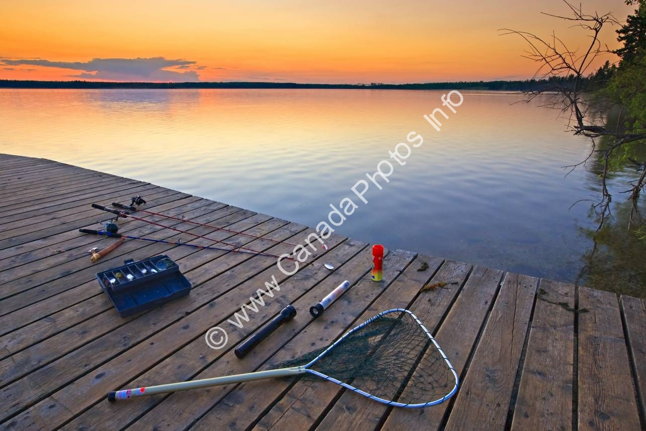 Photo Fishing gear sunset Lake Audy Riding Mountain National Park Manitoba
