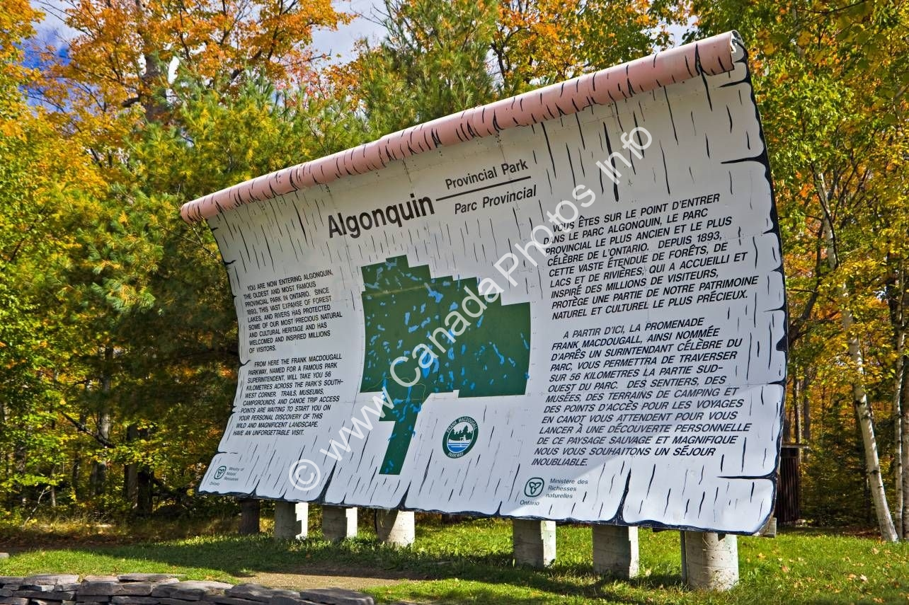 Photo Information Sign Algonquin Provincial Park Ontario