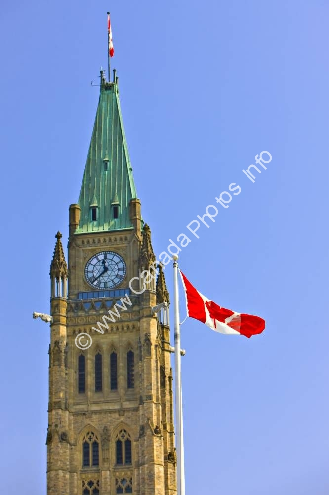 Photo Parliament Building Canadian Flag