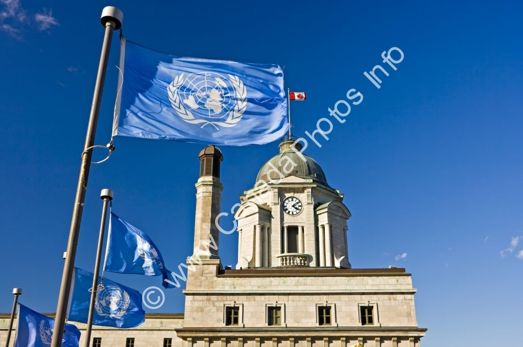 Photo United Nations Flag Old Post Office Quebec City