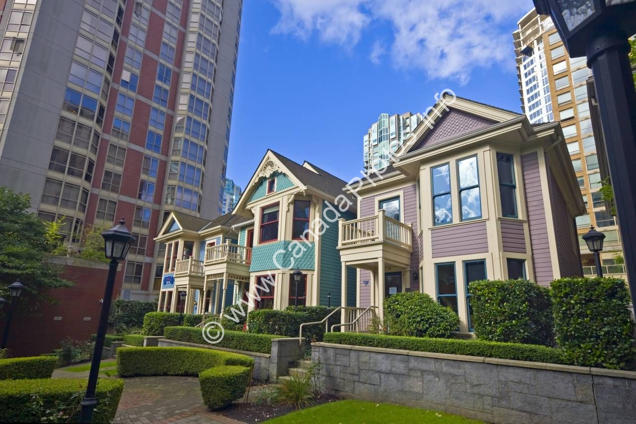 Photo Victorian Architecture Houses Downtown Vancouver