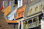 Rooftops of old stone buildings in the city of Quebec City, Province of Quebec, Canada.