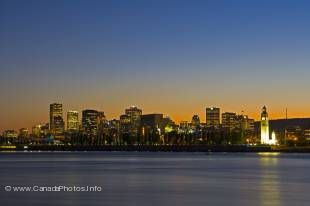 The impressive cityscape of Montreal can be seen from across the St Lawrence River in Quebec.