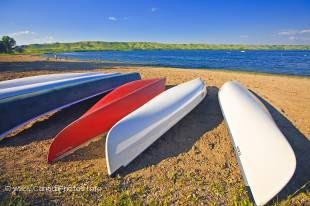 A canoe is a great way to discover Echo Lake in Qu'Appelle Valley in Saskatchewan.