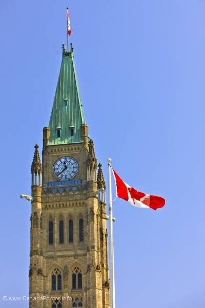 photo of Parliament Building Canadian Flag