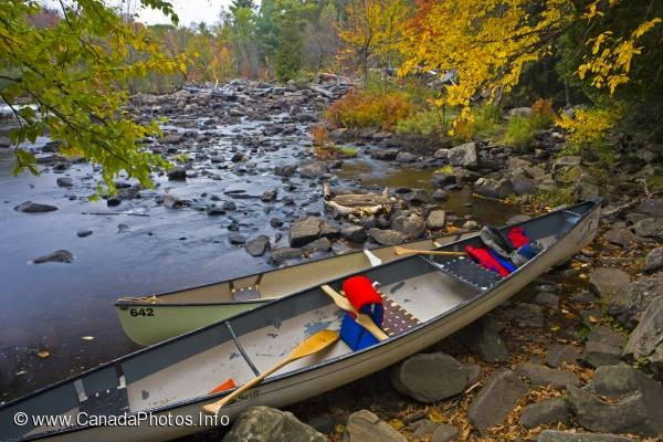 photo of Canoes Oxtongue River Ragged Falls Provincial Park Ontario