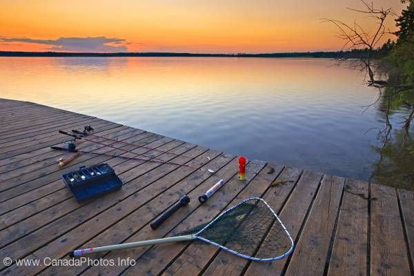 photo of Fishing gear sunset Lake Audy Riding Mountain National Park Manitoba