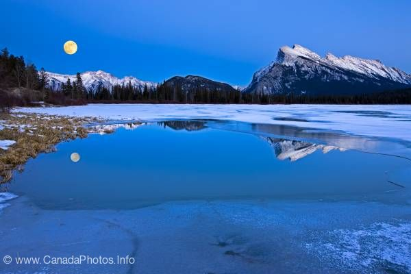 photo of Full Moon Dusk Banff National Park Alberta