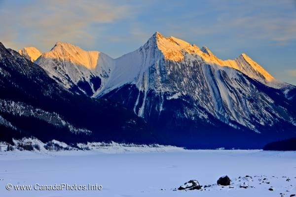 photo of Winter Sunset Mountain Scenery Rocky Mountains Jasper National Park