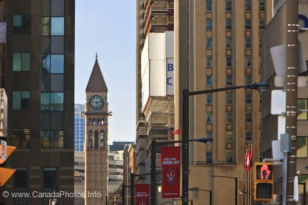 photo of Downtown Office Buildings Old Town Hall Clock Tower Toronto