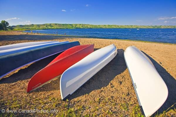 photo of Canoes Echo Lake Qu'Appelle Valley Saskatchewan