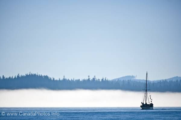 photo of Scenic photo Sailboat Fog Vancouver Island