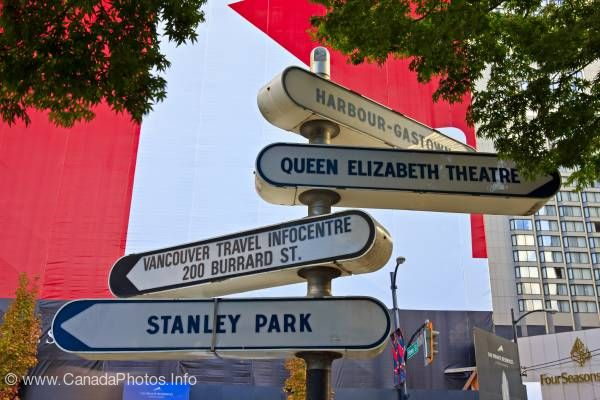photo of Directional Signs Signpost Downtown Vancouver