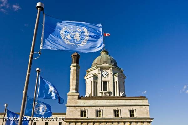 photo of United Nations Flag Old Post Office Quebec City