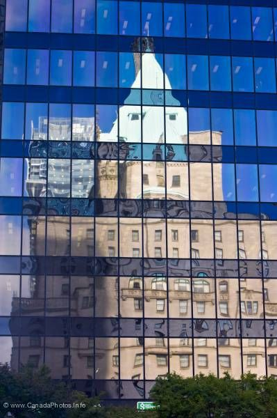 photo of Window Reflections Fairmont Hotel at Office Building Vancouver
